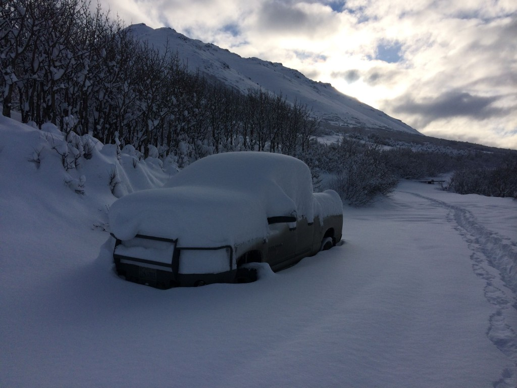 snowfall on truck